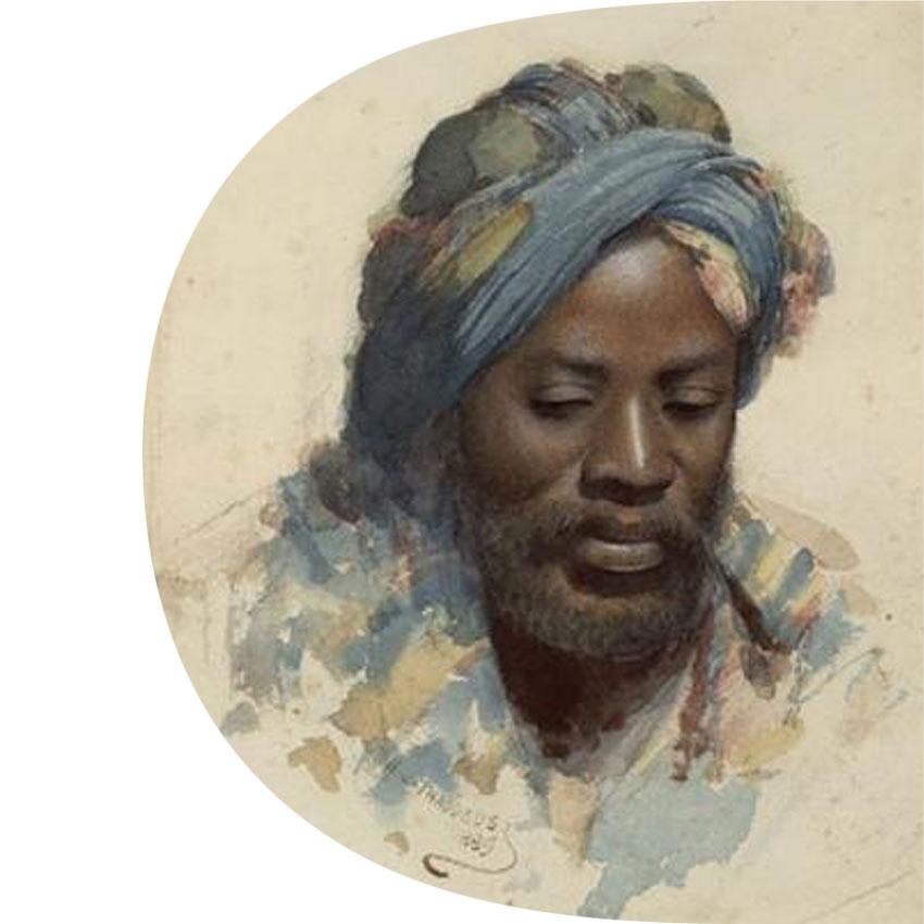 Tête de nègre au ruban bleu • THADDEUS H Jones © RMN