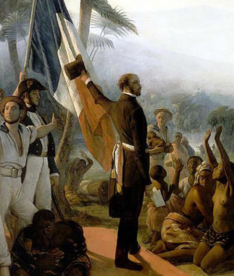 Le tableau de Biard représente une scène d'émancipation dans les colonies, au moment de la proclamation de l'abolition de l'esclavage